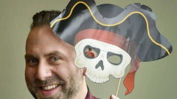 man with pirate mask